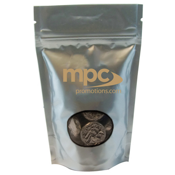 Item #WB2S-FOIL Large Window Bag with Hard Candy - Foil Candy - Silver