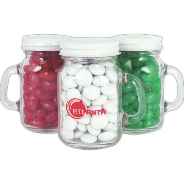 Item #MMJ-JEL-A Glass Mini Mason Jar with Assorted Jelly Beans