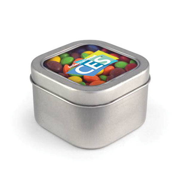 Item #80-00104 Square Window Tin - Chocolate Buttons, Full Color Digital
