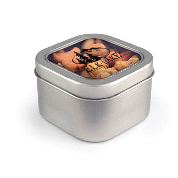 Item #00103 Square Window Tin - Cashews