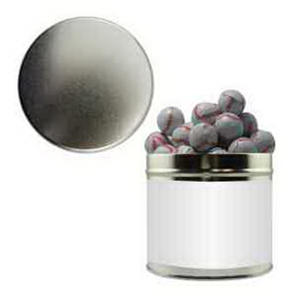 Item #HQT205-BALLS Half Quart Tin Containers with chocolate sports balls