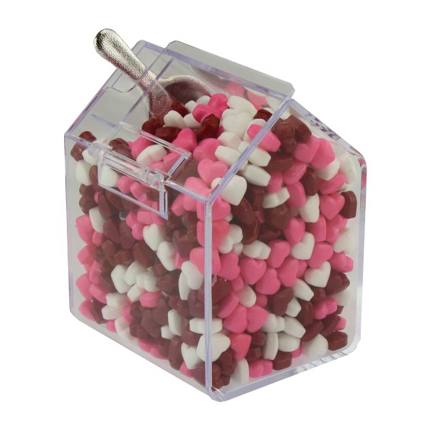 Item #CANDYBIN2-HRTS Large Candy Bin Dispenser with Candy Hearts