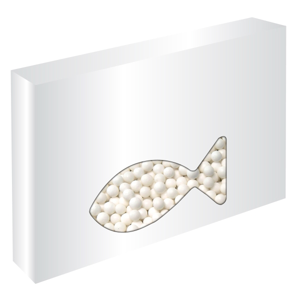 Item #FISH-BOX-MINTS Customizable Fish Box Packaging with Signature Peppermints