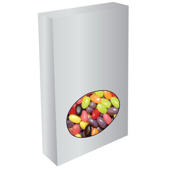 Item #OVAL-BOX-JELLY Customizable Oval Box Packaging with Jelly Beans Candy