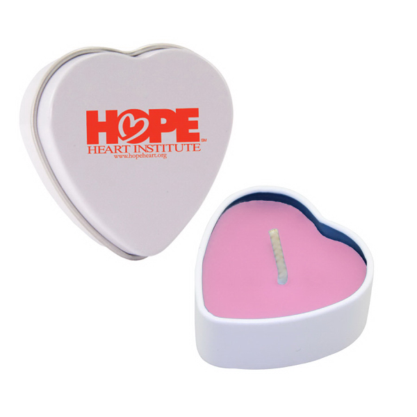 Item #HTC01PI-HEART Heart Tin Soy Candle (Fresh Cut Roses)