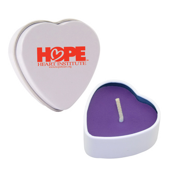 Item #HTC01PU-HEART Heart Tin Soy Candle (Lilac)