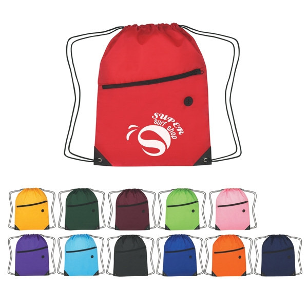 Item #A3065-BACKPACK Hit Sports Pack With Front Zipper - Drawstring Bag Backpack