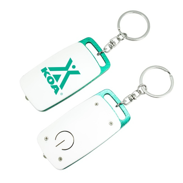 Item #LL206 Two-Tone Rectangular LED Flashlight with Split Key Ring