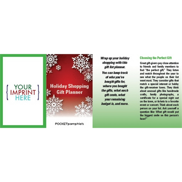 Item #PP-1610 Holiday Shopping Gift Planner Pocket Pamphlet