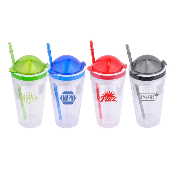 Item #7700 Juicy Double Wall Plastic Tumbler With Squeezer Top