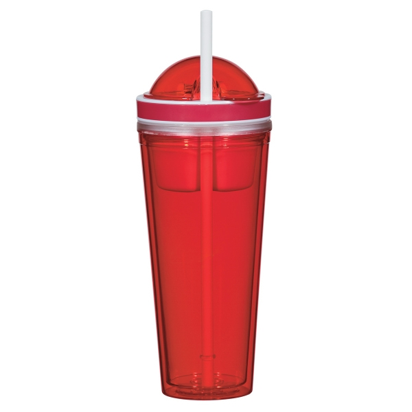 Item #7703 Practical 22 Oz. Tumbler With Straw And Snack Container