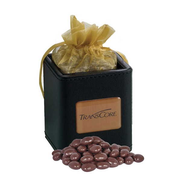 Item #425-DCA-E X-Cube Pen Holder filled with dark chocolate almonds
