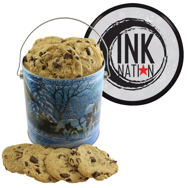 Item #T1GB-BAKERY One Gallon Cookie Christmas Tin with Chocolate Chip Cookies