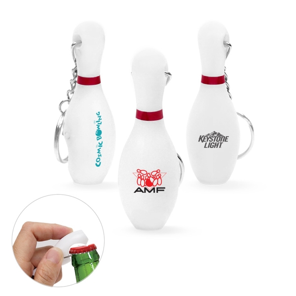 Item #KW-1107 Plastic Bowling Pin Bottle Opener Keychain