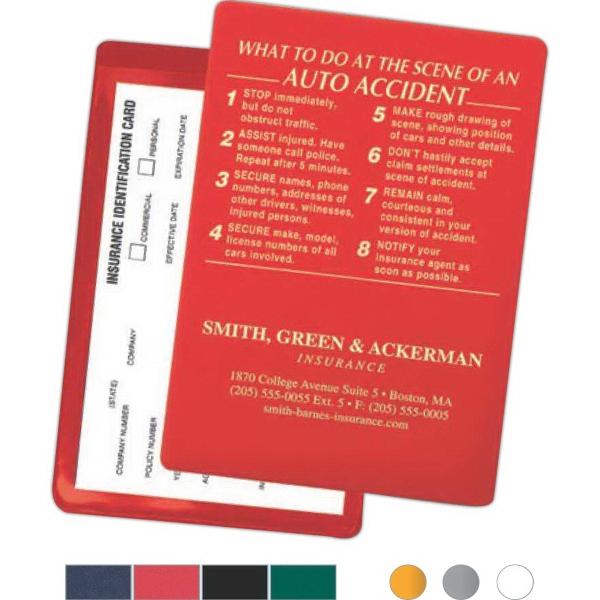 item 583 id3 insurance card holder w 8 imprinted accident instructions - Insurance Card Holder
