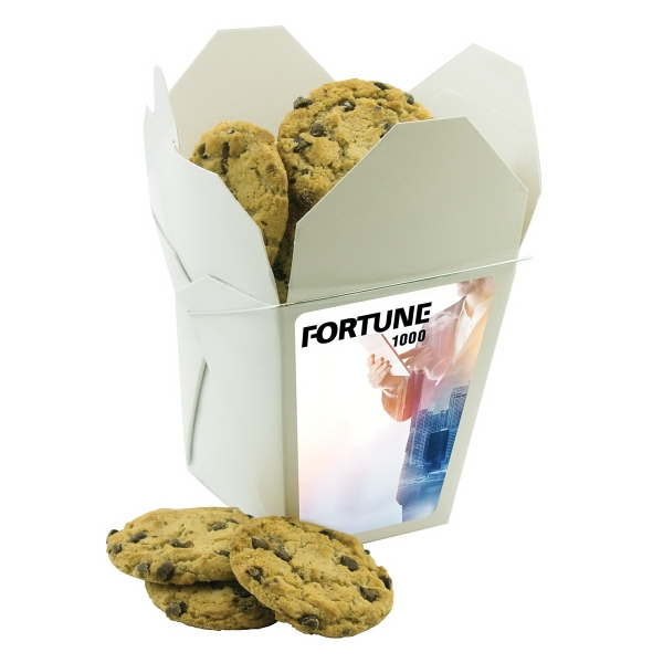 Item #FORTUNEBOX-CC Fortune Cookie Box With Chocolate Chip Cookies