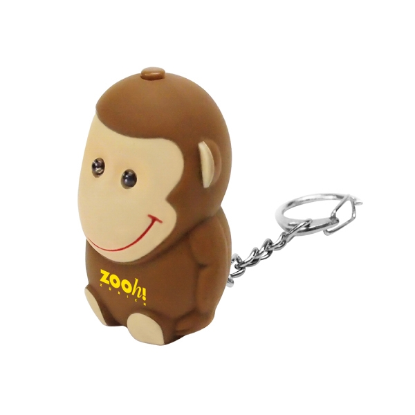 Item #KW-1129 Monkey Animal LED Light Sound Keychain