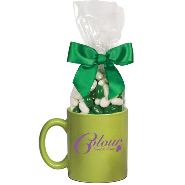 Item #MUG-SC-BEANS Ceramic Mug Stuffer with Corporate Color Jelly Beans