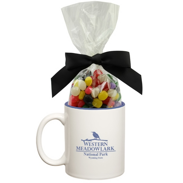 Item #MUG-JELLY Two Tone Ceramic Mug Stuffer with Jelly Beans Candy