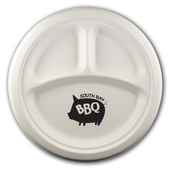 "Item #3072-103-CP-QS 10"" Round 3-Compartment Eco-Friendly Paper Plate"