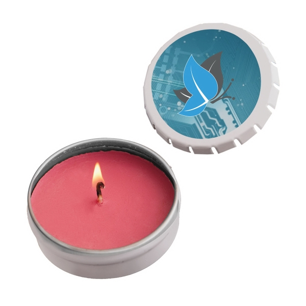 Item #STC03SR-CANDLE Snap-Top Tin Soy Candle (Cinnamon) - Silver