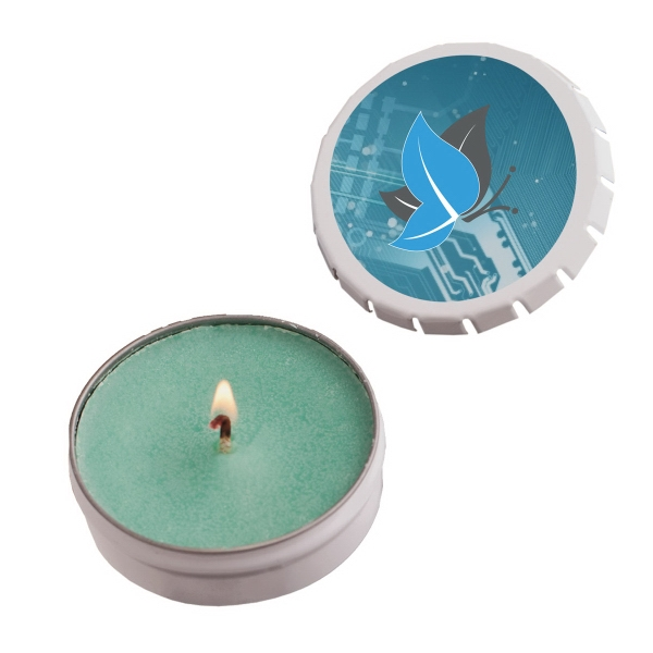 Item #STC03SG-CANDLE Snap-Top Tin Soy Candle (Baked Apple) - Silver