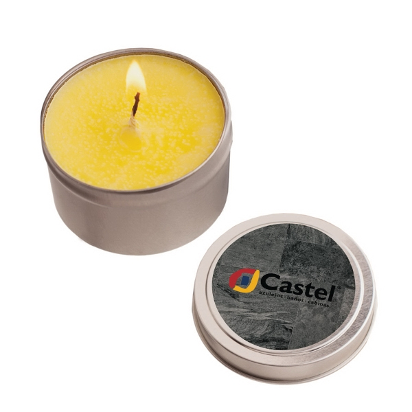 Item #RTC02-CANDLE 2 oz. Eco Friendly Soy Candle In Round Tin