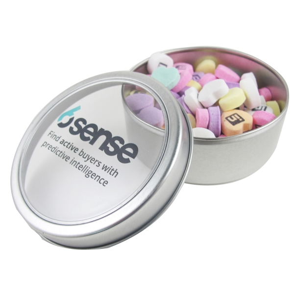 Item #N26002-ICH Large Top View Tin - Imprinted Conversation Hearts