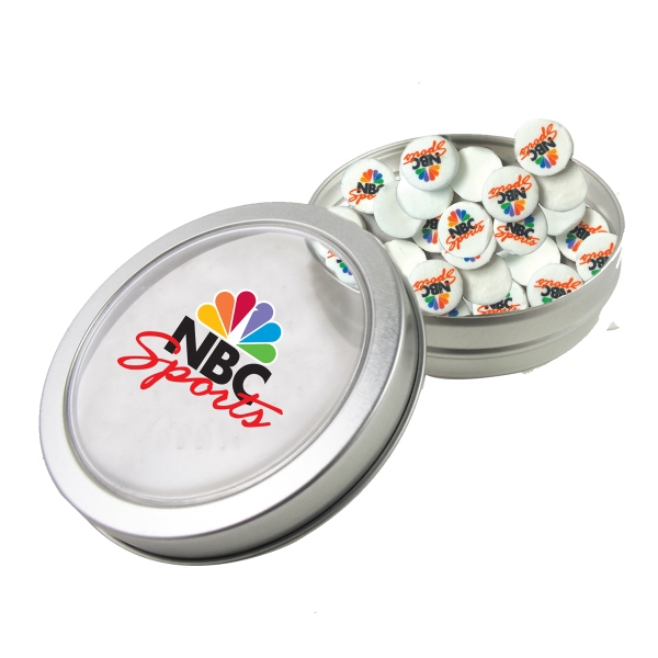 Item #N26002-IRM Large Top View Tin - Imprinted Round Mints