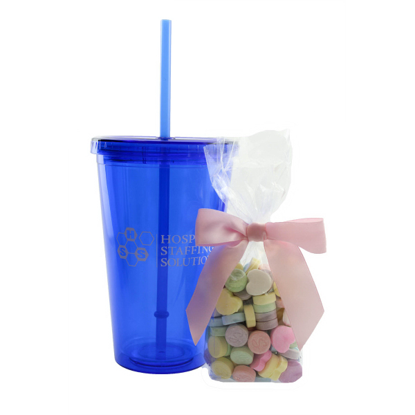 Plastic Tumbler Cup Drinkware with Sweet Tarts - 16 oz.