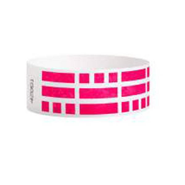 "Item #T2D-62 White Tyvek® 1"" Design Rhod Red Bricks Wristband"