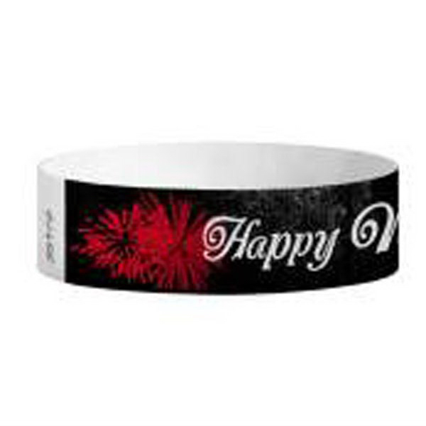 "Item #T3D-97 Tyvek (R) 3/4"" Design Happy New Year! Wristband"
