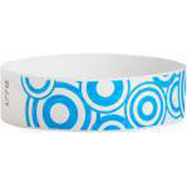"Item #T3D-30-05 Tyvek® 3/4"" Design Blue Disks Wristband"