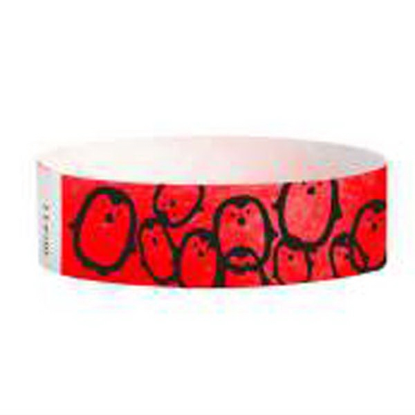 "Item #T3D-28-03 Tyvek® 3/4"" Design Penguins on Red Wristband"