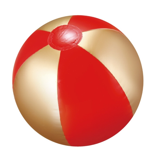 "Item #AB-2279 16"" Deflated, Inflatable Red and Gold Beach Ball"