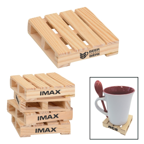 "Item #BS-015 3"" Square Mini Pallet Wood Coaster"