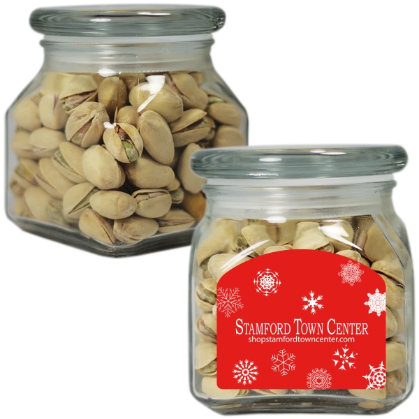 Item #SSCJ10-PST-JAR Small Glass Apothecary Jar with Pistachio Nuts