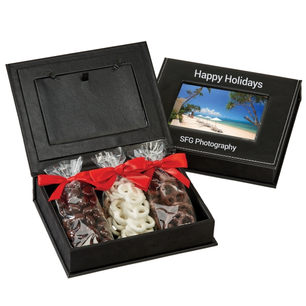 Item #PFB-A-PHOTO Picture Frame Keepsake Gift Box with Almonds and Pretzels