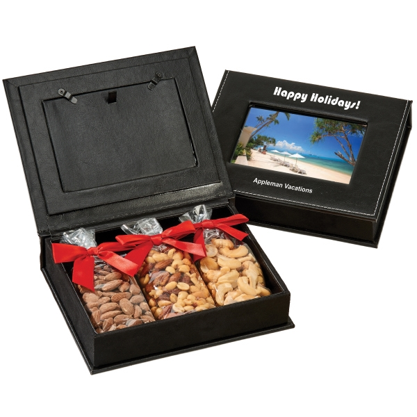 Item #PFB-B-PHOTO Picture Frame Keepsake Gift Box with Almonds, Cahsews, Nuts