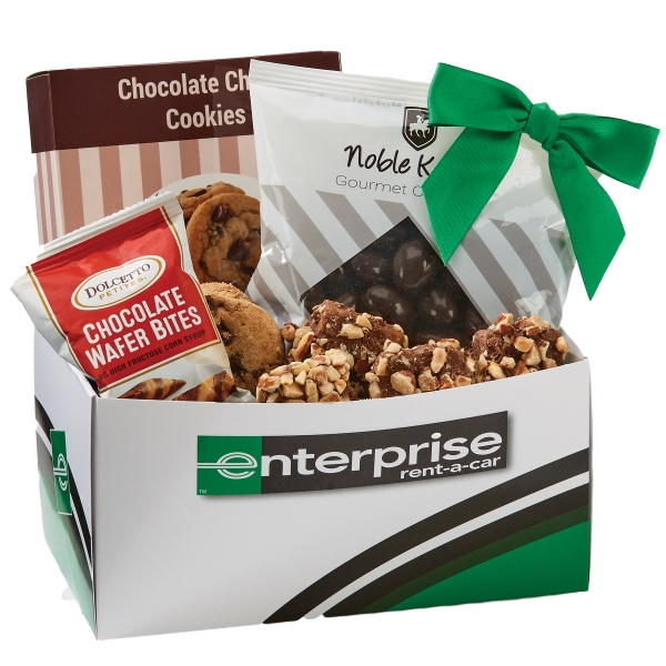 Item #CDCA-CHOCOLATE Chocolate Dream Caddy Box with Almonds, Cookies, Wafer Bites