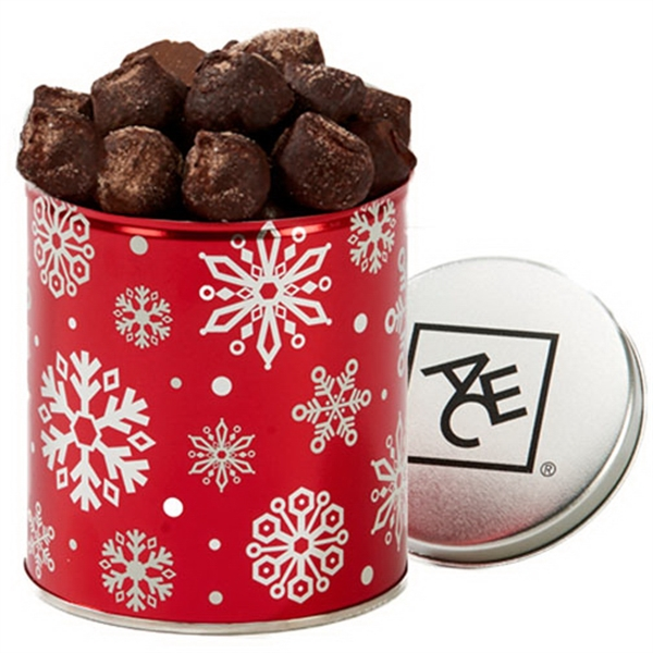 Item #QT204-TRUFFLE Quart Tin with Cocoa Dusted Chocolate Truffles