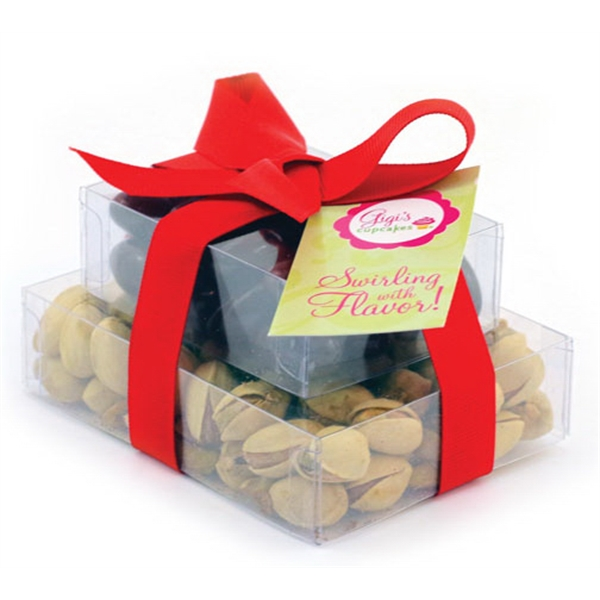 Item #SP2-B-NUTS Double Stack Present Container - Almonds and Pistachios Nuts
