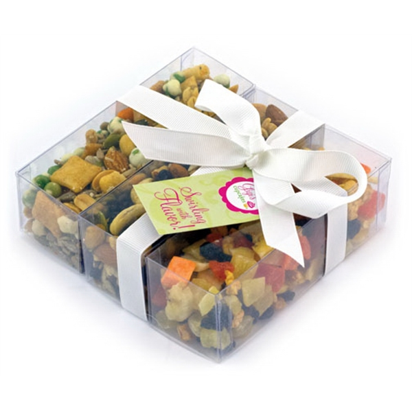 Item #SP3-B-SNACK Triple Treat Present with Healthy Snack Mix