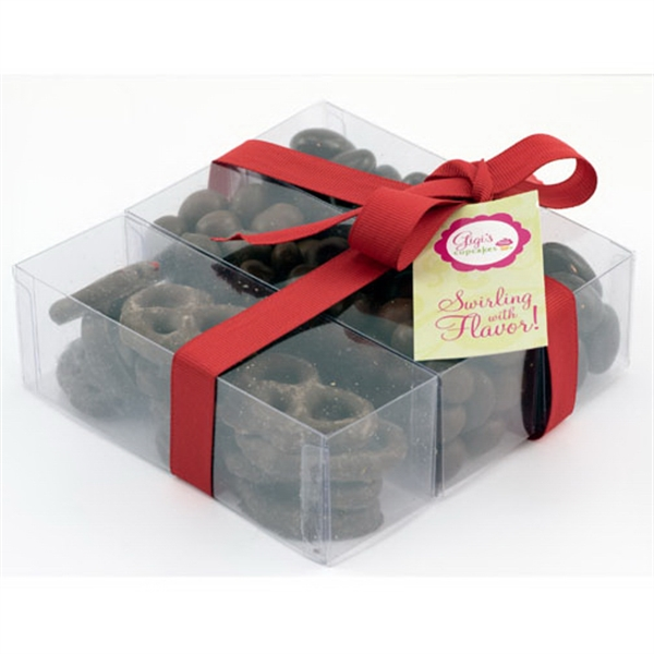 Item #SP3D-CHOCOLATE Triple Treat Present with Almonds, Espresso Beans, Pretzels