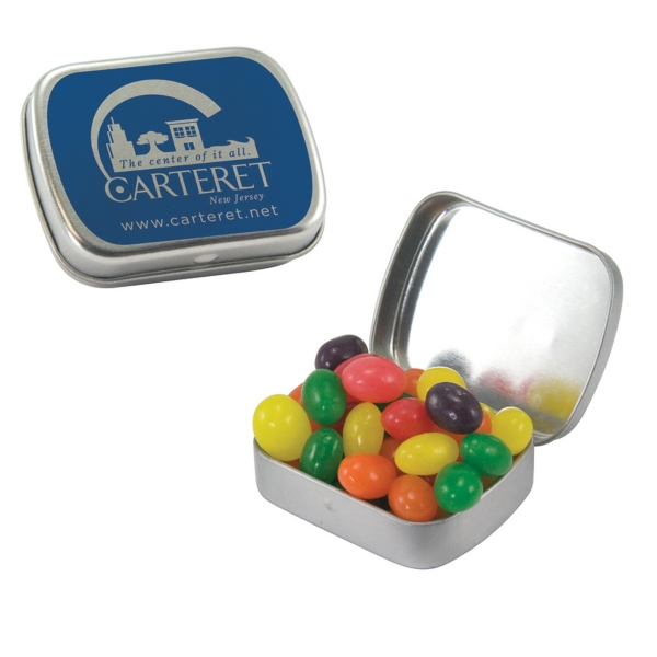 Item #ST02-JELLY Small Black Candy Tin with Jelly Beans