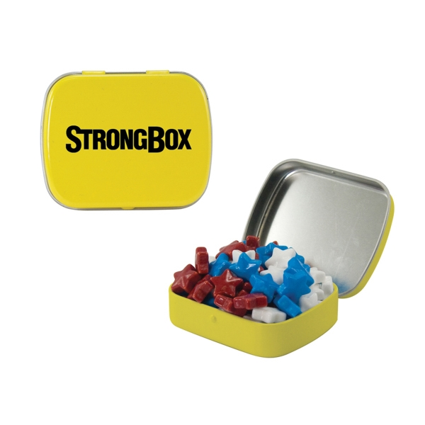 Item #ST02-STARS Small Hinged Tin with Candy Stars