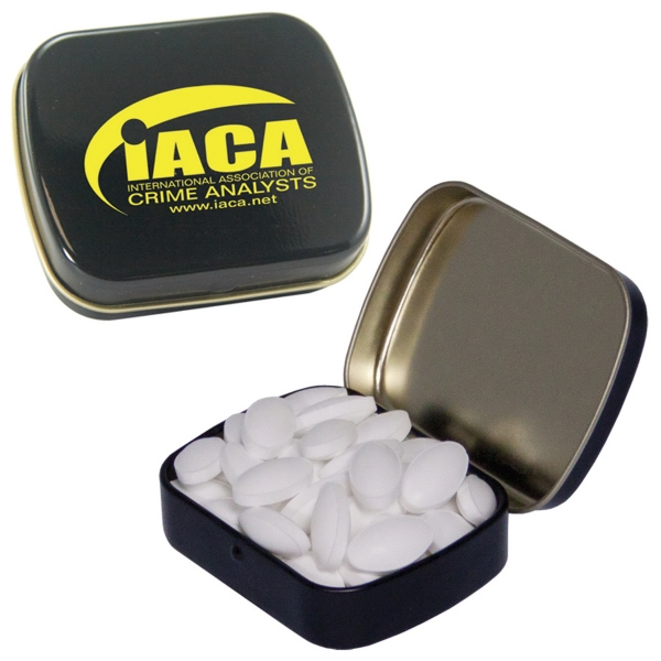 Item #MINTS-CAFFEINE Hinged Tin filled with Caffeinated Mints