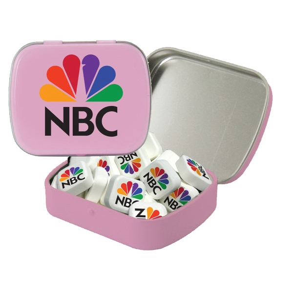 Item #ST02-PR-MINTS Small Hinged Tin with Printed Mints - Breath Fresheners