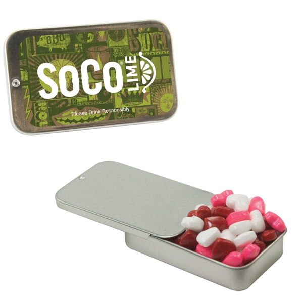 Item #SLT05-HEARTS Slider Tin with Candy Hearts