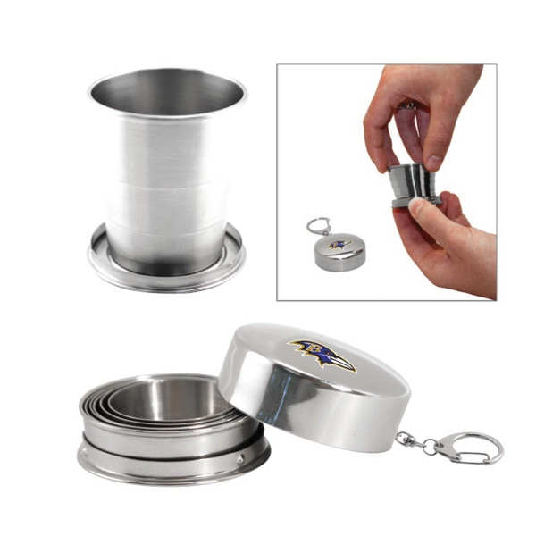 Item #AD-630 Stainless steel collapsible 2 oz cup with keyring